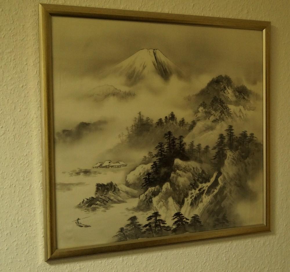 Landschaft Japanisches Gemälde im Rahmen Bild Malerei Kunst Japan ...