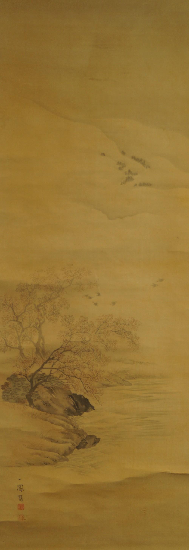 Pflaumenblüten am Flussufer - Japanisches Rollbild (Kakejiku, Kakemono)