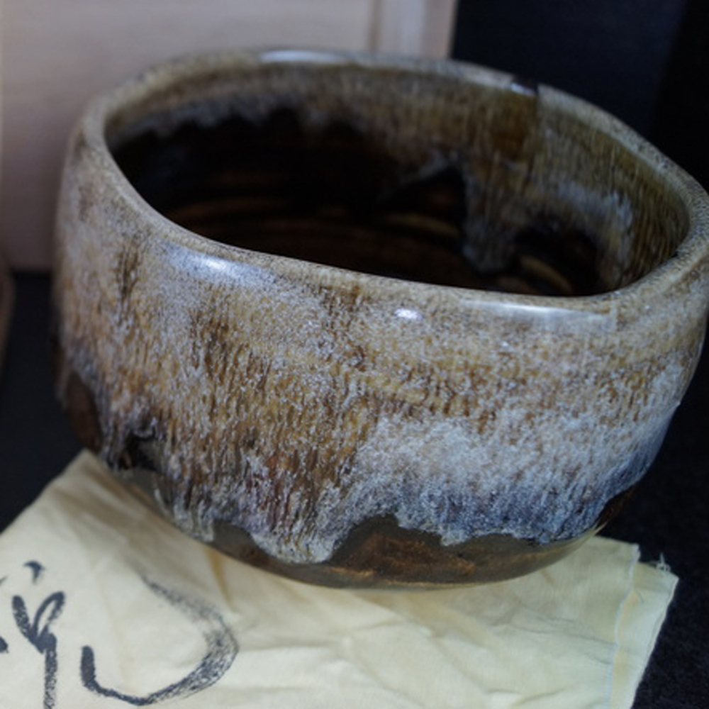 Handgetöpferte japanische Teeschale (Chawan) von Muroi Kaoru