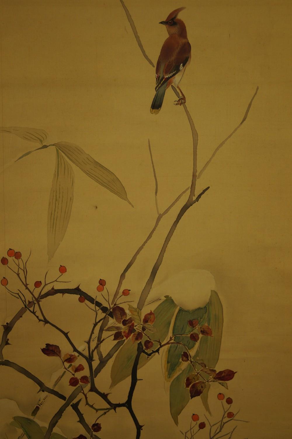 Beeren im Schnee - Japanisches Rollbild (Kakejiku, Kakemono)