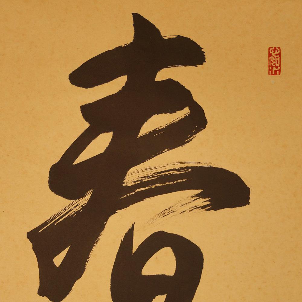 "Kalligrafie ""Frühlingswind"" - Japanisches Rollbild (Kakejiku, Kakemono)"
