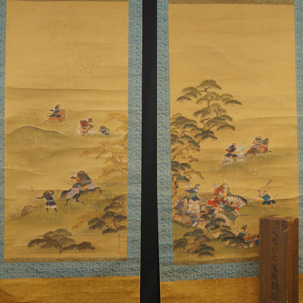 Samuraikrieger - Japanisches Rollbild-Duo (Kakejiku, Kakemono)