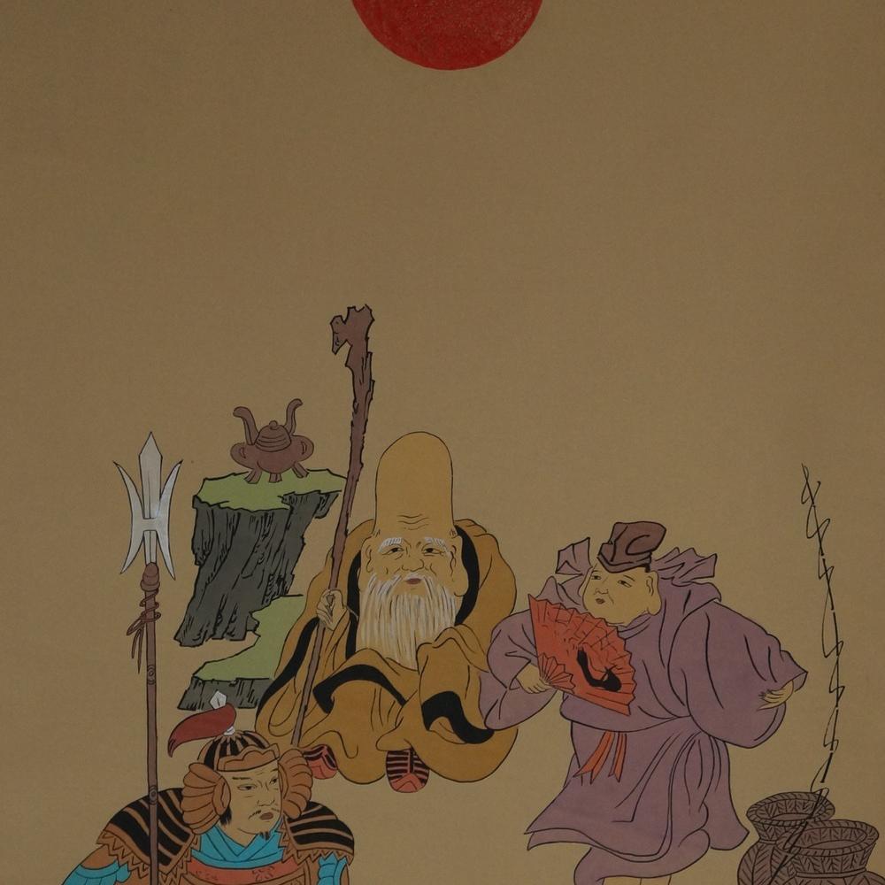 Die sieben Glücksgötter - Japanisches Rollgemälde (Kakejiku)