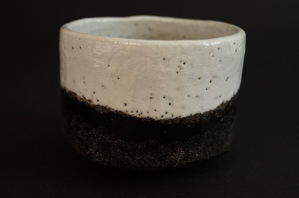 Handgetöpferte japanische Teeschale (Chawan) Fuji-San Motiv Raku Keramik von Shoraku Sasaki