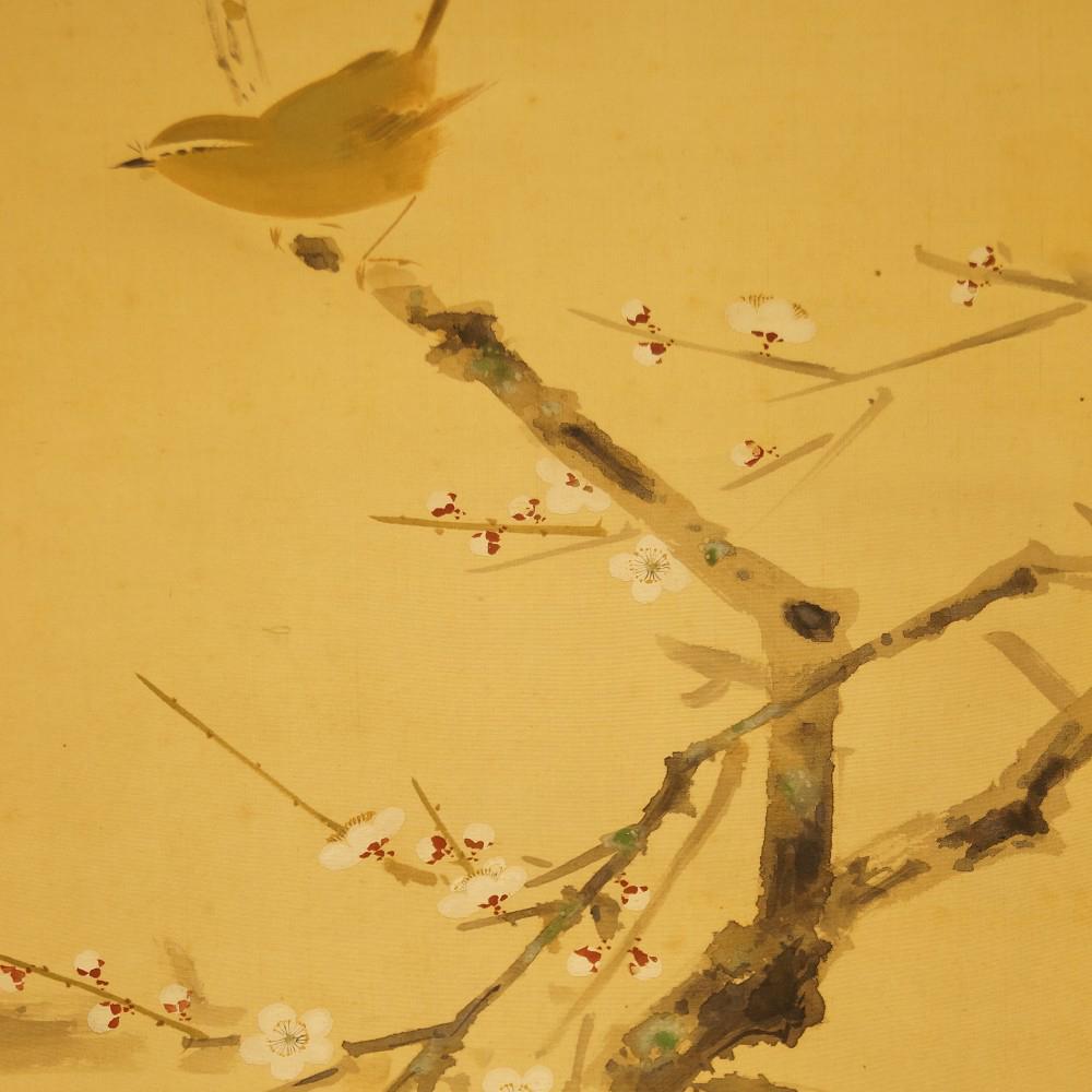 Vogel auf einem Kirschbaumzweig - japanisches Rollgemälde (Kakejiku, Kakemono)