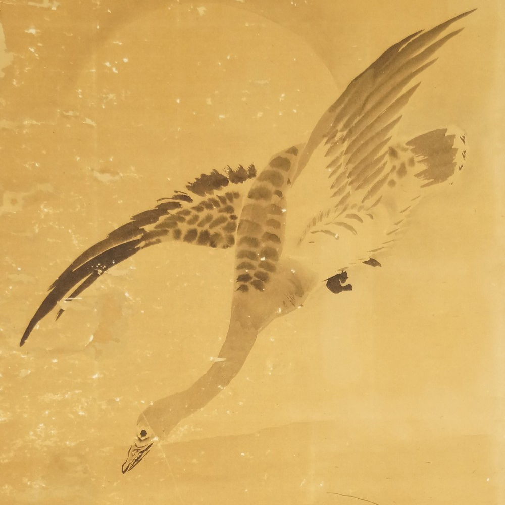 Wilde Gans im Mondlicht - Japanisches Rollgemälde (Kakejiku, Kakemono) Tanaka Koga