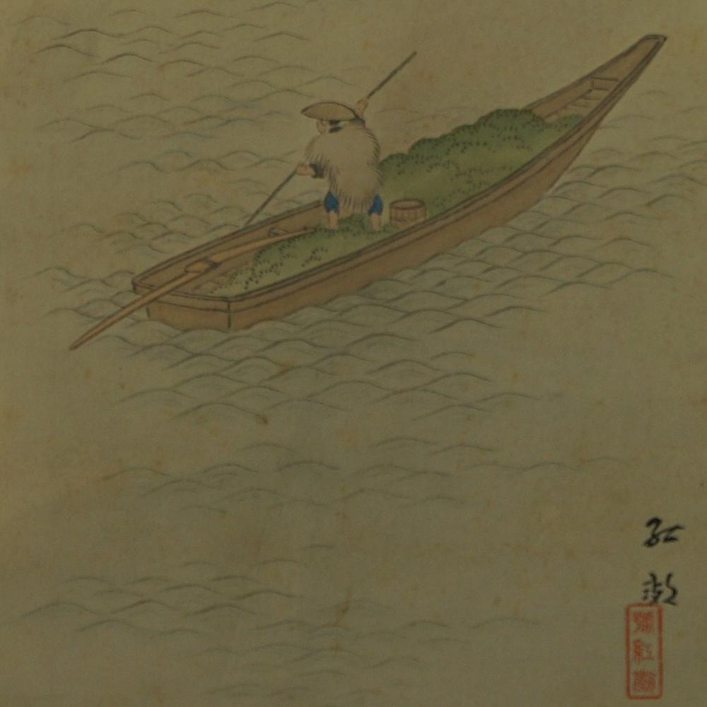 Fischerboot - Japanisches Rollbild (Kakejiku, Kakemono)