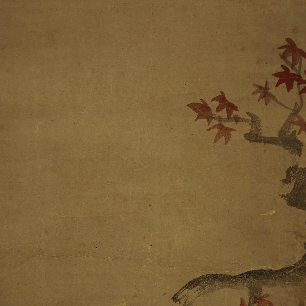 Fünf Spatzen auf einem Ahornzweig - Japanisches Rollbild (Kakejiku, Kakemono)
