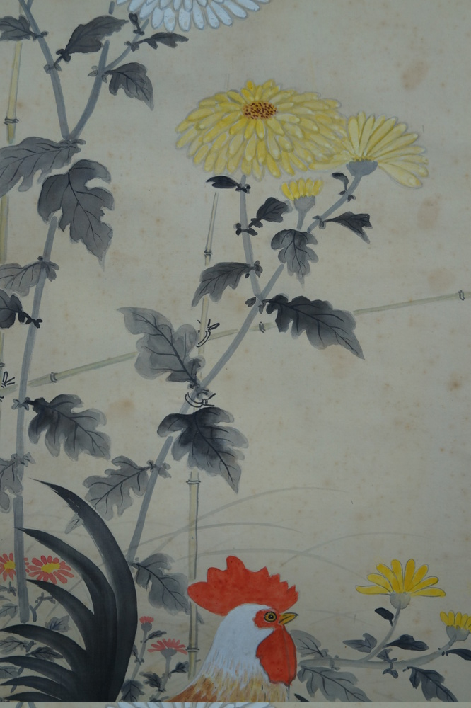 Hühner und Chrysanthemen - Japanisches Rollgemälde (Kakejiku)