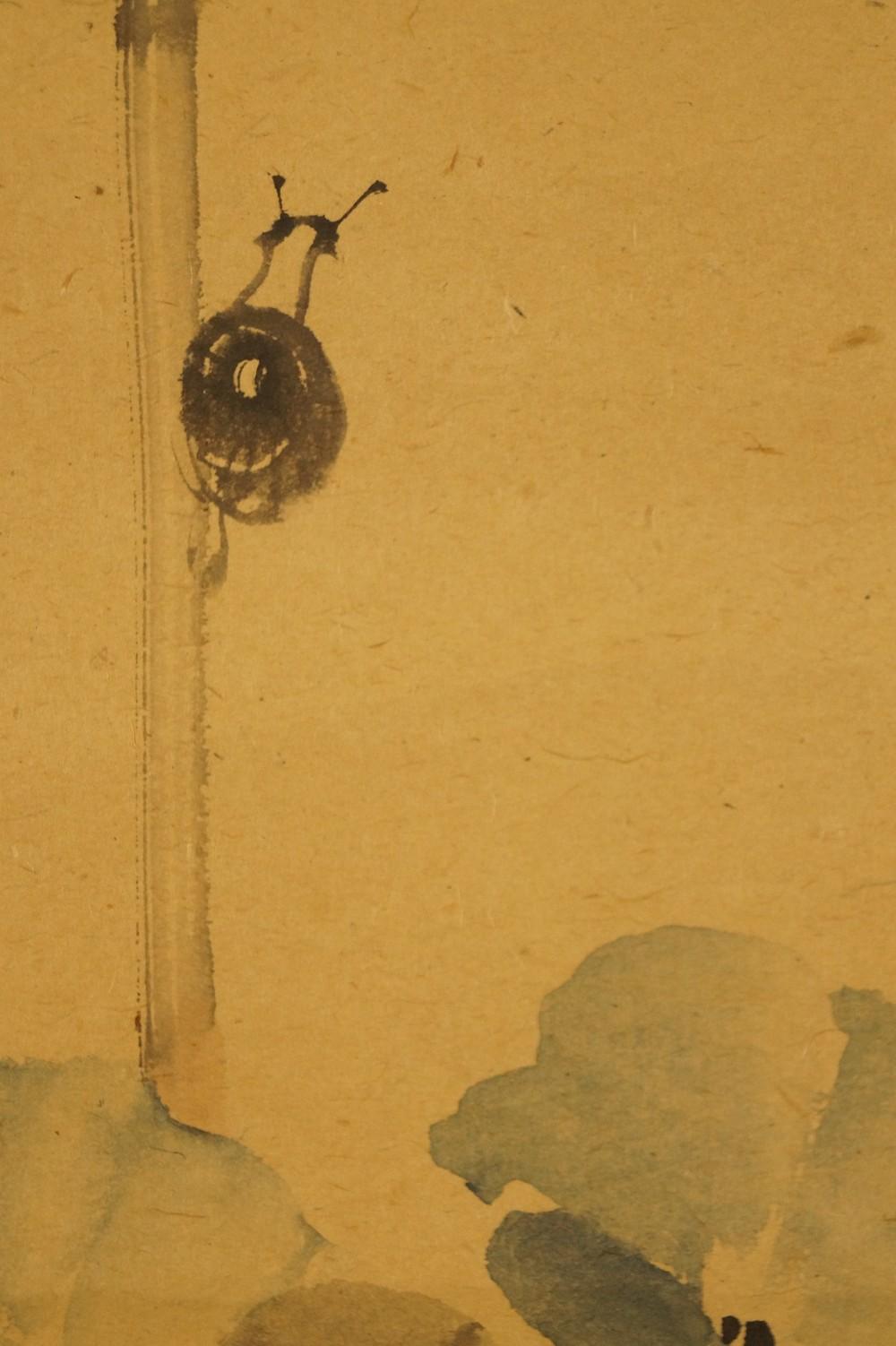 Die Schnecke auf der Lotusblume - japanisches Rollgemälde (Kakejiku, Kakemono)