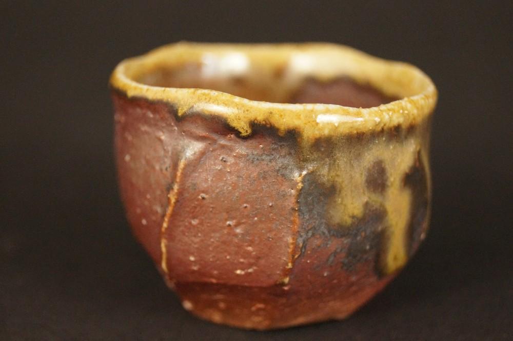 Handgetöpferte japanische Sake Schale (Guinomi) Bizen Keramik von Kimura Tamafune