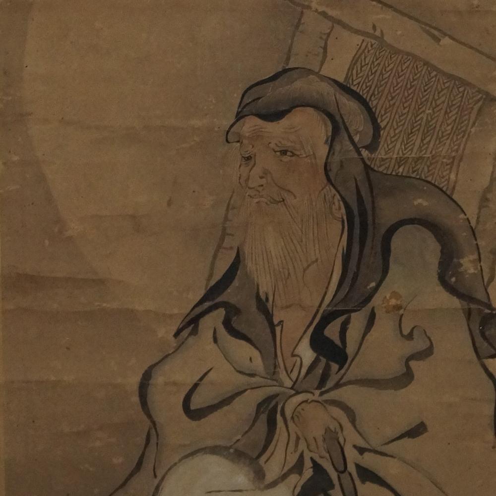 Der weise Mann im Mondlicht - Japanisches Rollgemälde (Kakejiku)