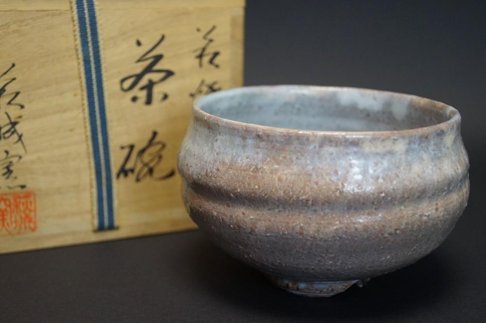 Handgetöpferte japanische Teeschale (Chawan) Hagi Keramik