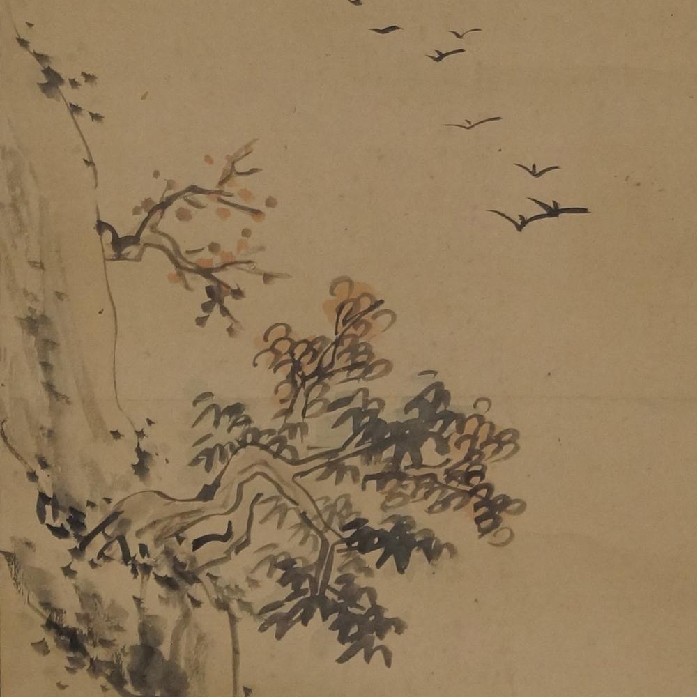 Knorriger Baum am Felsen - Japanisches Rollgemälde (Kakejiku)