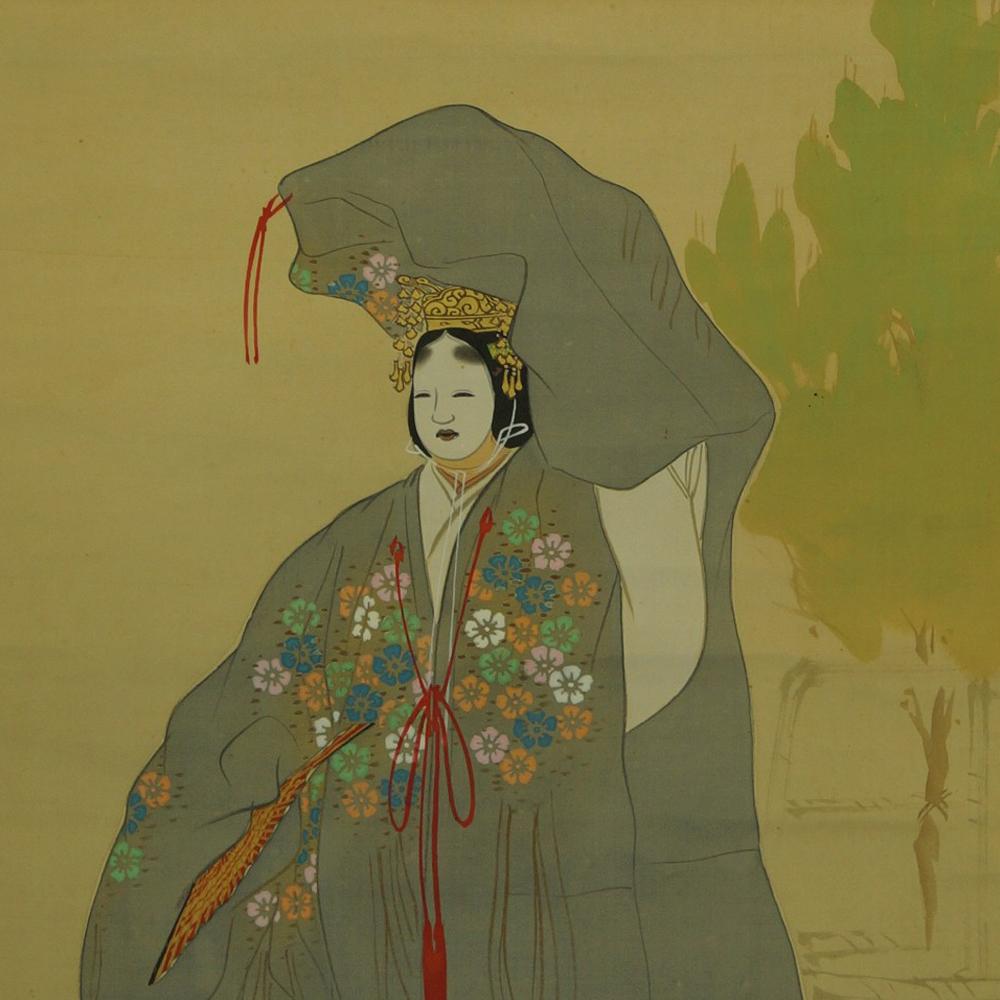 Frau im Kimono - Japanisches Rollbild (Kakejiku, Kakemono)