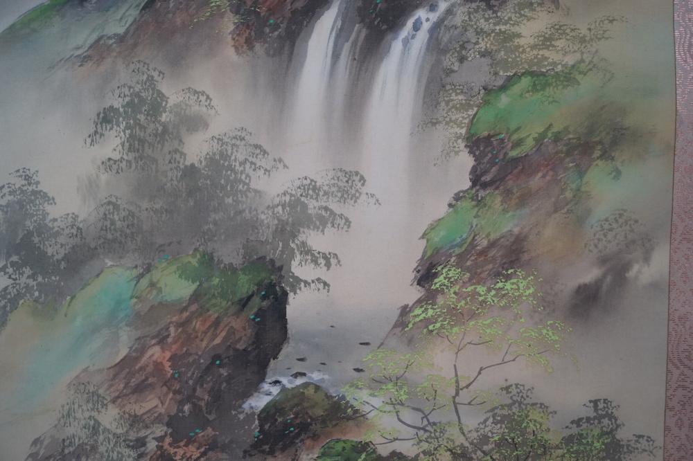 Haus am Wasserfall - Japanisches Rollgemälde (Kakejiku)