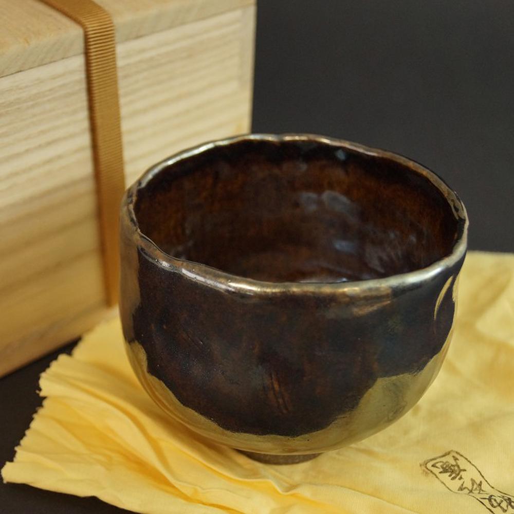 Handgetöpferte japanische Teeschale (Chawan) Tanba Keramik von Mitsuru Ichino