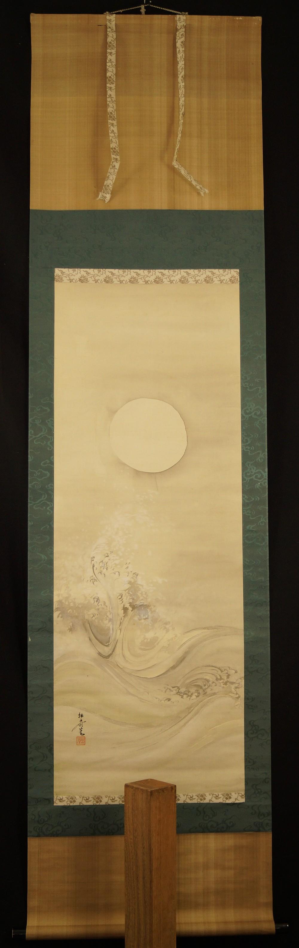 Brechende Wellen im Mondschein - japanisches Rollgemälde (Kakejiku, Kakemono)