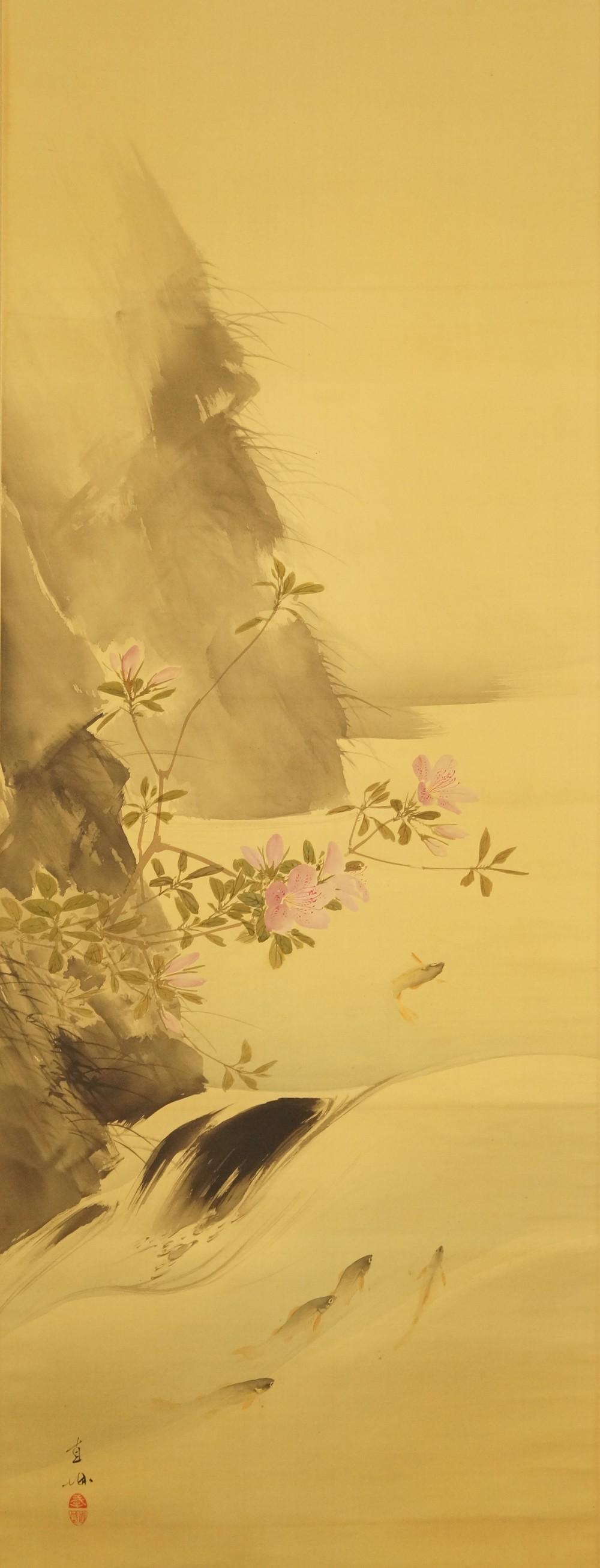 Forellen im stömenden Fluss - japanisches Rollgemälde (Kakejiku, Kakemono) von Fukada Chokushiro