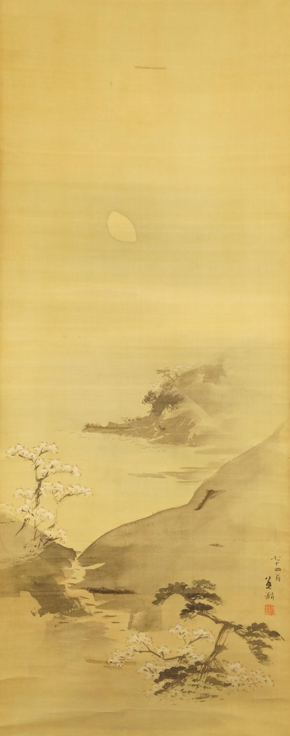 Landschaft im Mondlicht - japanisches Rollgemälde (Kakejiku, Kakemono)