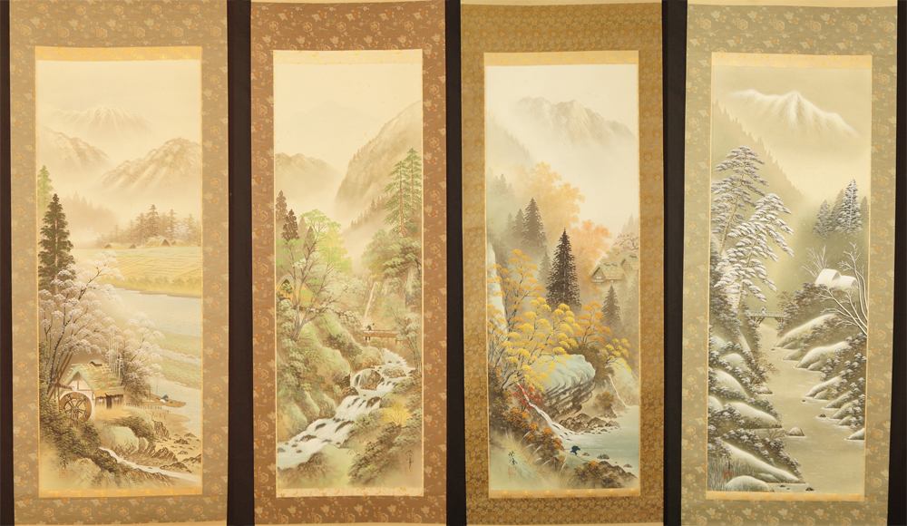 Vier Jahreszeiten - 4er Set Japanische Rollbilder (Kakejiku, Kakemono)