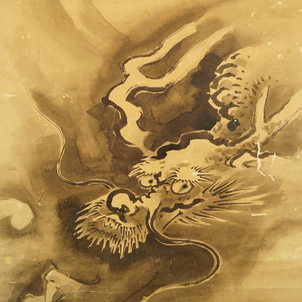 Drache - Japanisches Rollgemälde (Kakejiku, Kakemono) Tanaka Koga
