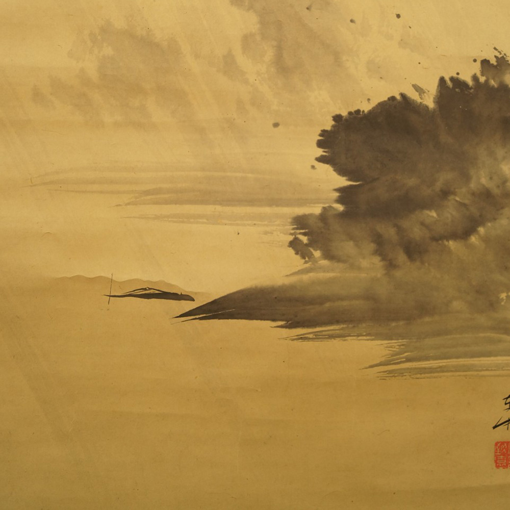 Verregnete Landschaft - Japanisches Rollbild (Kakejiku, Kakemono)