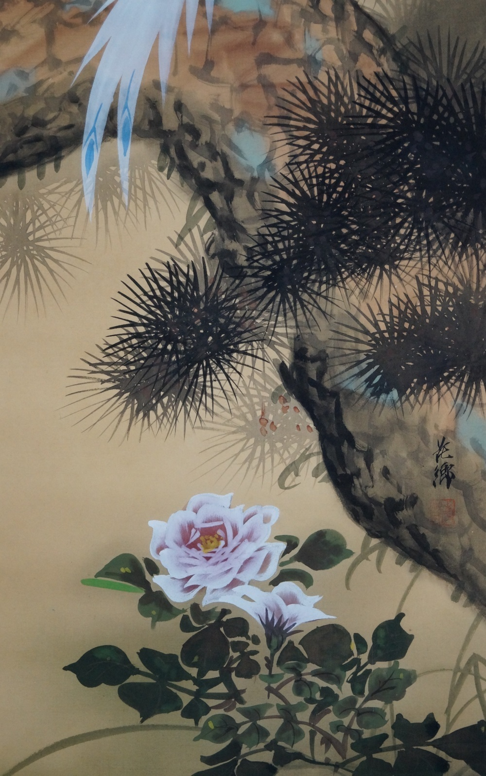 Der Vogel und die Pfingstrose - Japanisches Rollgemälde (Kakejiku)