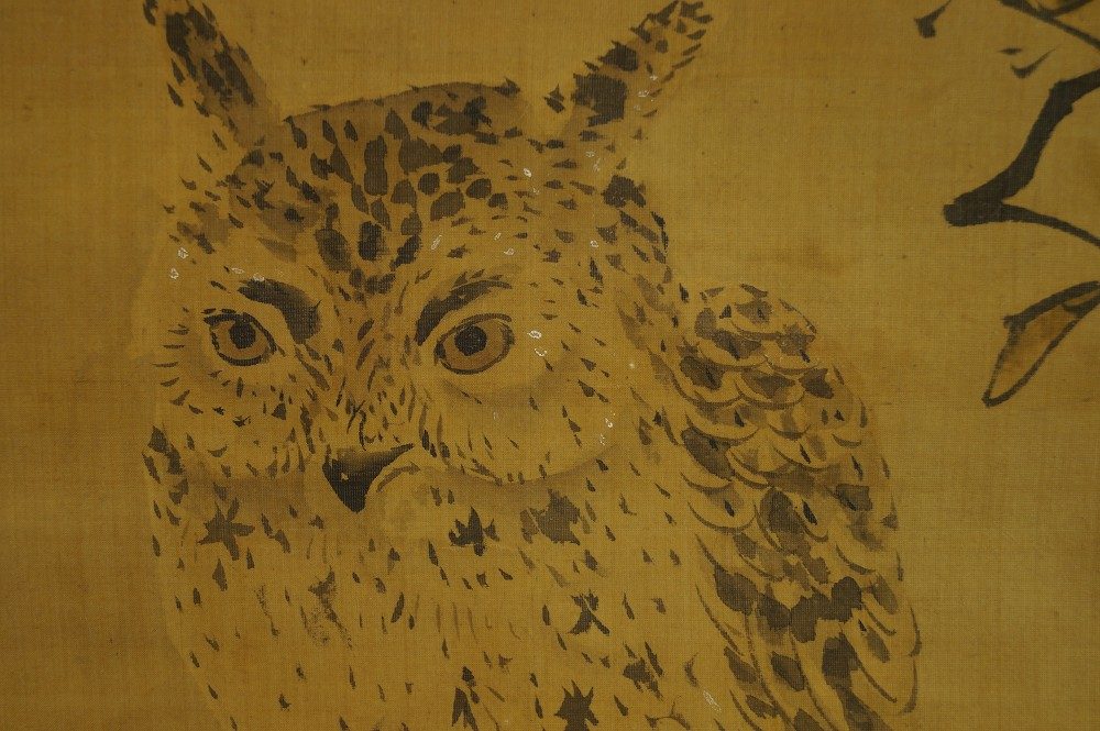 Eule - Japanisches Rollbild (Kakejiku, Kakemono)