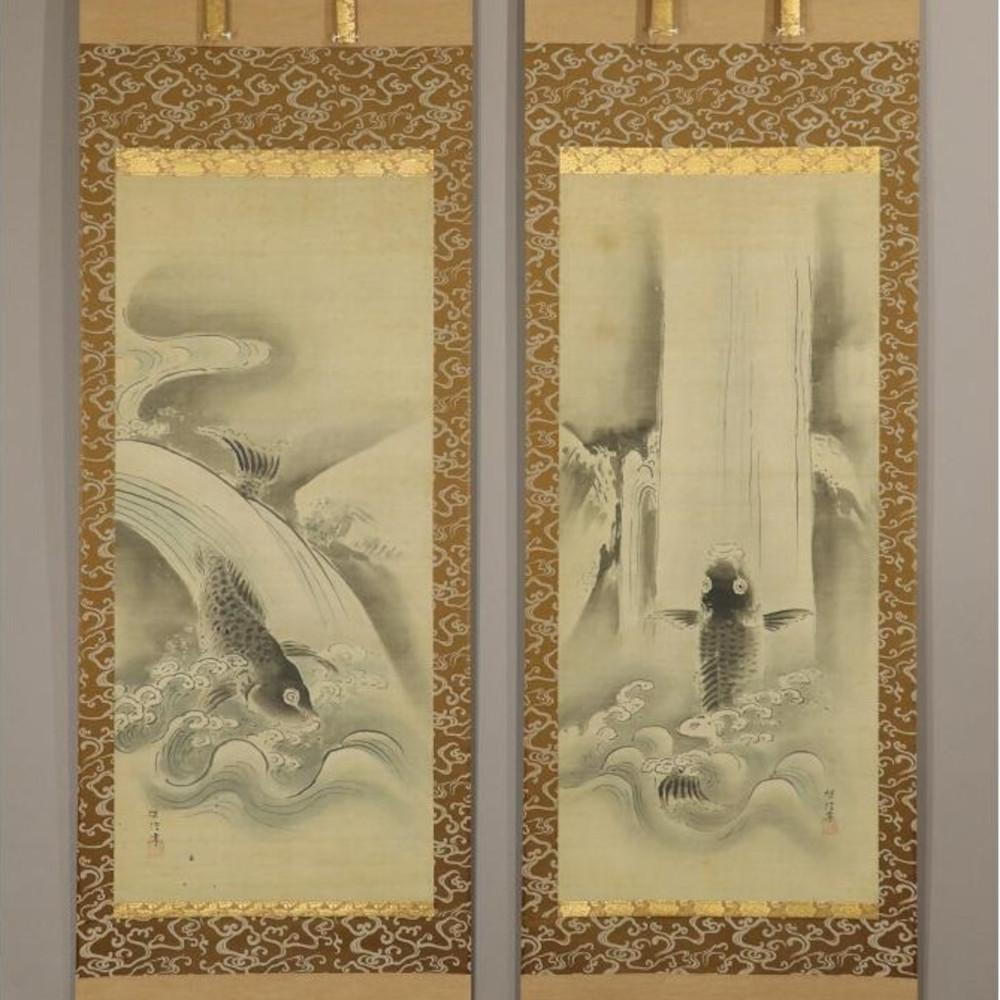 Kois erklimmen den Wasserfall - 2er Set japanische Rollgemälde (Kakejiku, Kakemono), Kano Tanshin