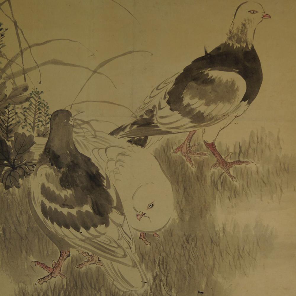 Tauben - Japanisches Rollbild (Kakejiku, Kakemono)