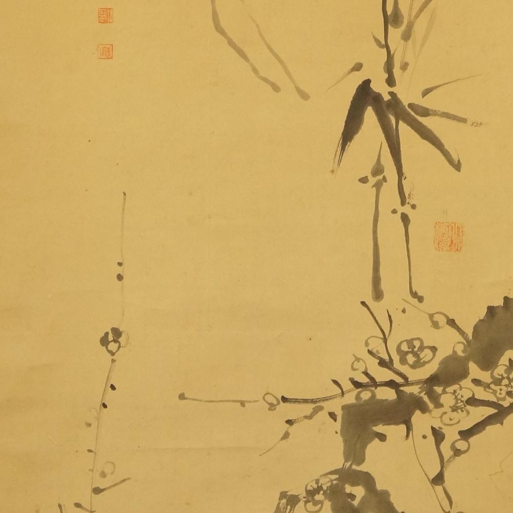 Bambus, Chrysantheme und Sakura - Japanisches Rollbild (Kakejiku, Kakemono)