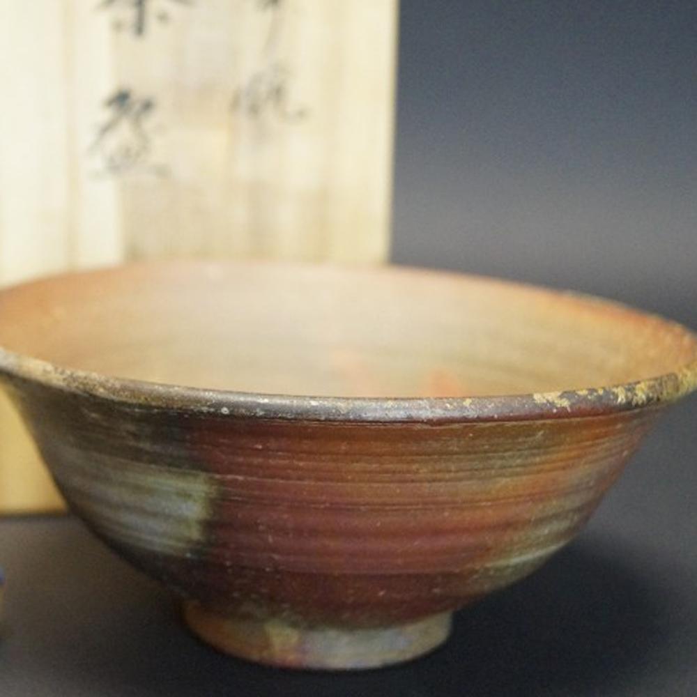 Handgetöpferte japanische Teeschale (Chawan) Bizen Keramik