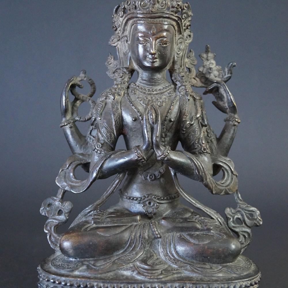 Nepalesische Buddhafigur aus Bronze