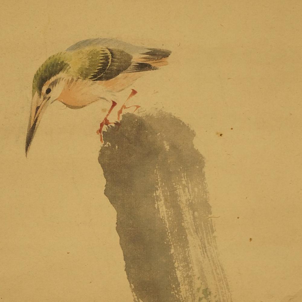 Eisvogel auf einem Ast - japanisches Rollgemälde (Kakejiku, Kakemono)