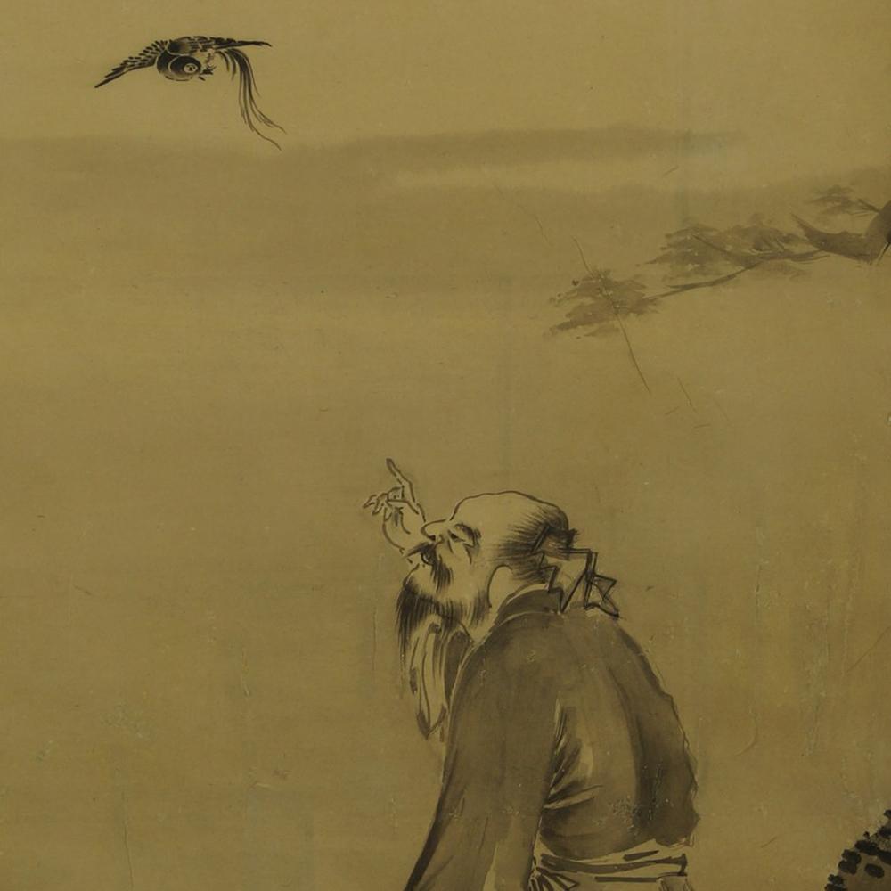 Der Mann und der Vogel - Japanisches Rollbild (Kakejiku, Kakemono)