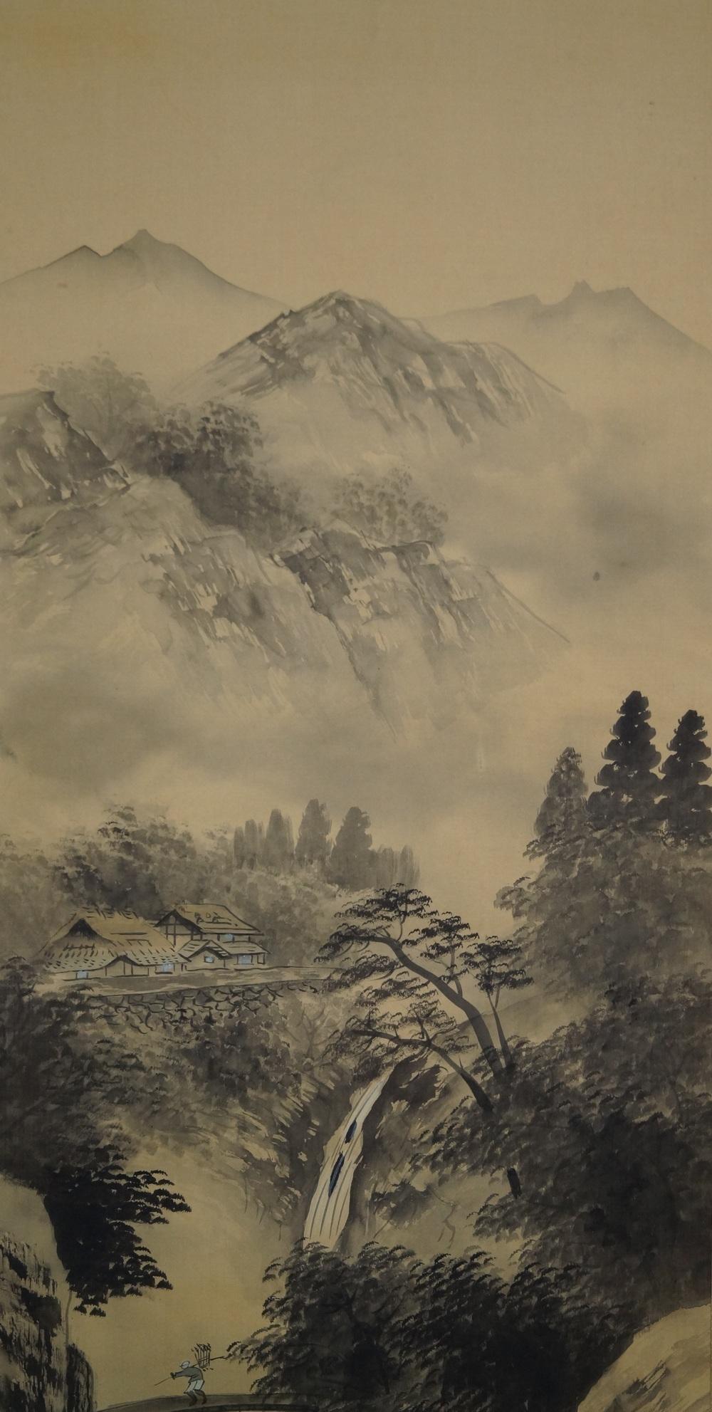Fluss und Berge - Japanisches Rollgemälde (Kakejiku)