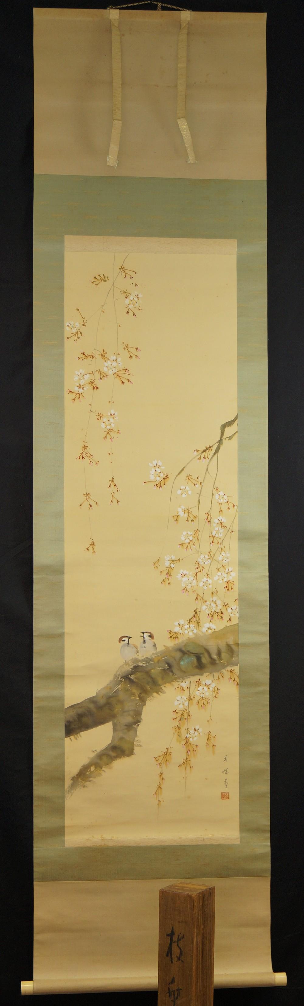 Zwei Spatzen auf dem Sakura Zweig - Japanisches Rollbild (Kakejiku, Kakemono)
