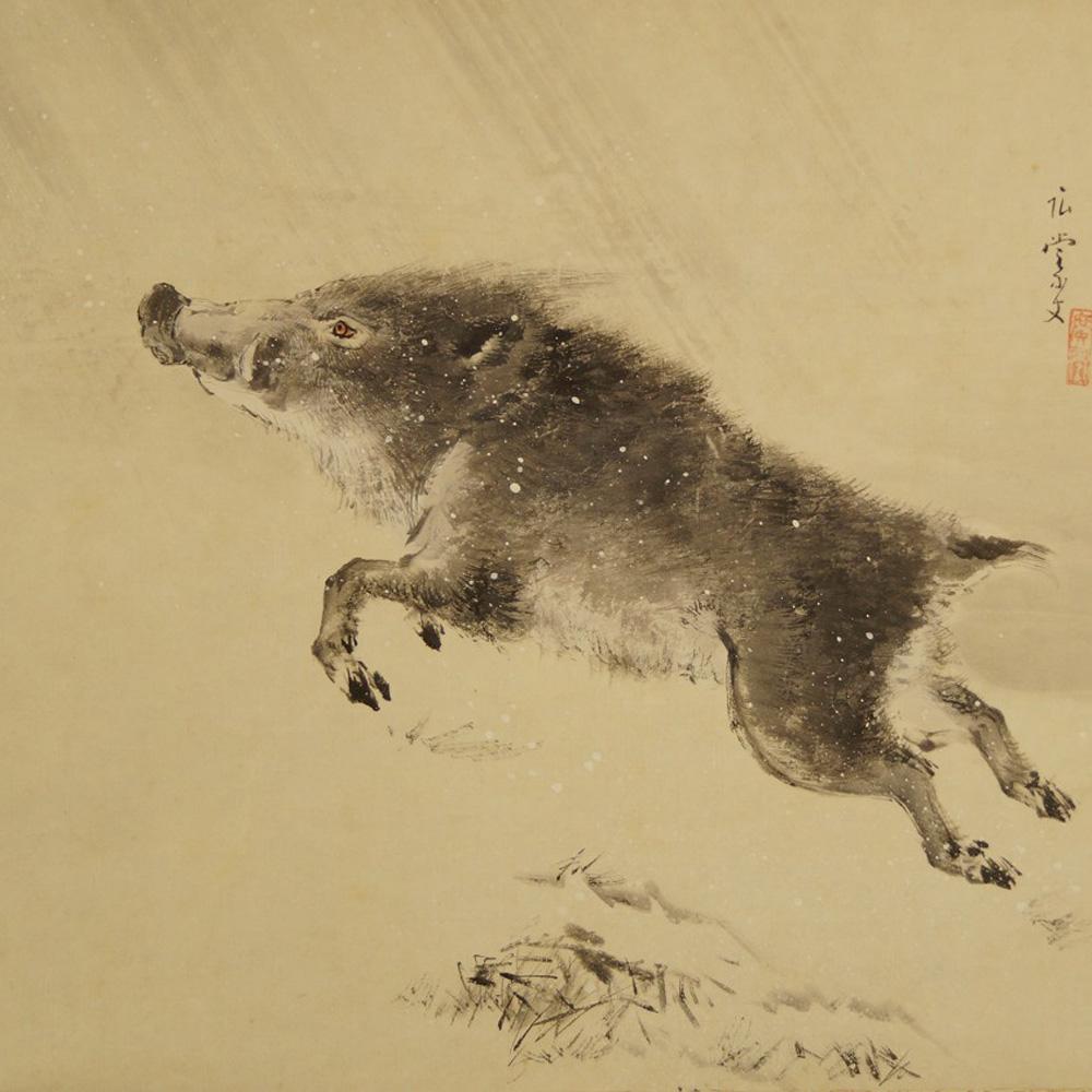 Keiler im Schnee - japanisches Rollgemälde (Kakejiku, Kakemono)
