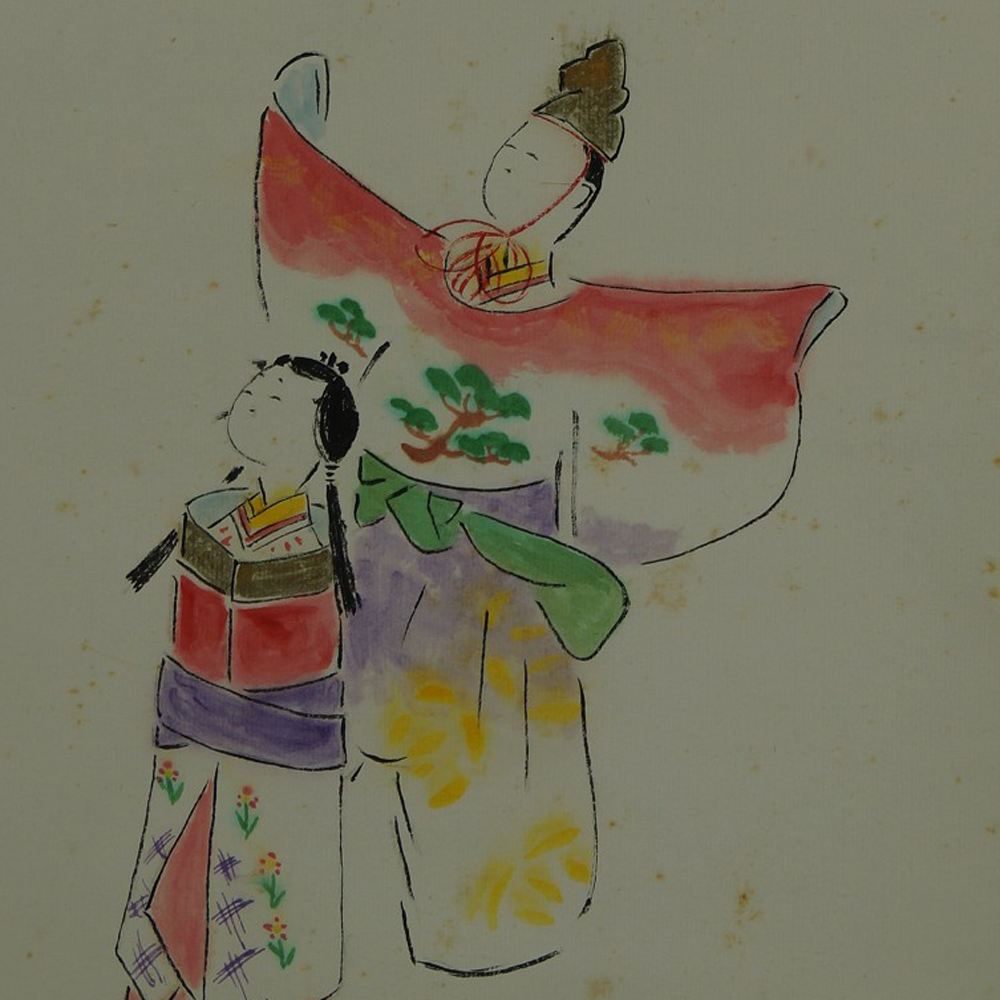 Hina Puppen - Japanisches Rollbild (Kakejiku, Kakemono)