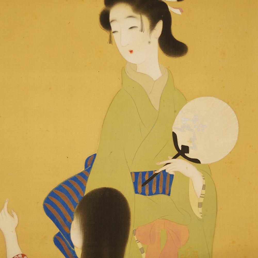 Die Schönheit und ihre Tochter - japanisches Rollgemälde (Kakejiku, Kakemono)