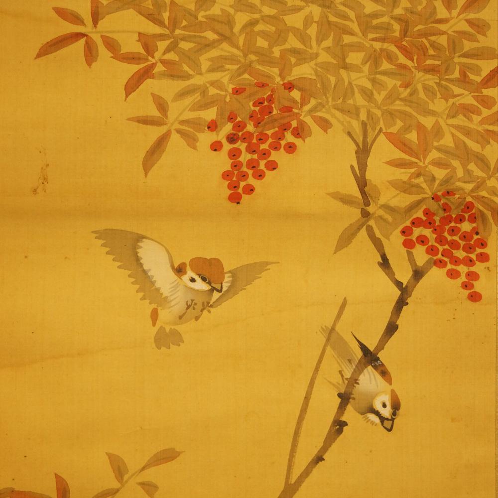 Spatzen am Vogelbeerbaum - japanisches Rollgemälde (Kakejiku, Kakemono)
