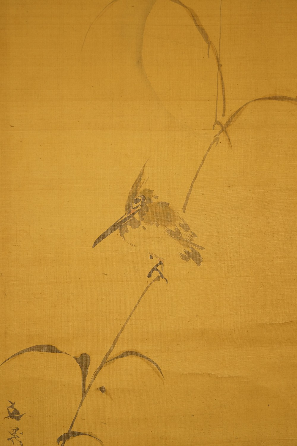 Eisvogel im Mondschein - japanisches Rollgemälde (Kakejiku, Kakemono)