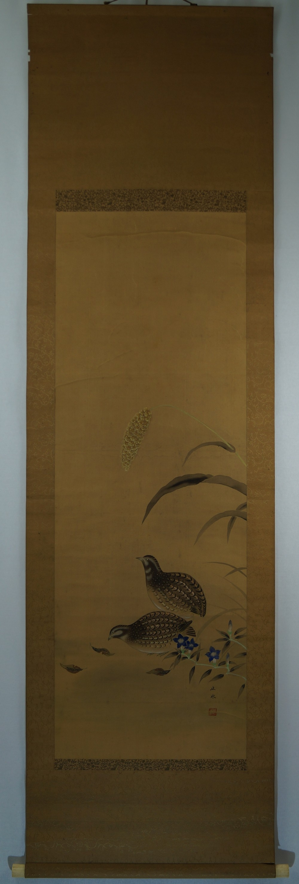 Wachteln - Japanisches Rollbild (Kakejiku, Kakemono)
