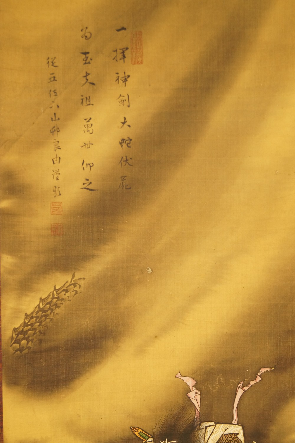 Drache und Samurai - japanisches Rollgemälde (Kakejiku, Kakemono) Yamamura Somon