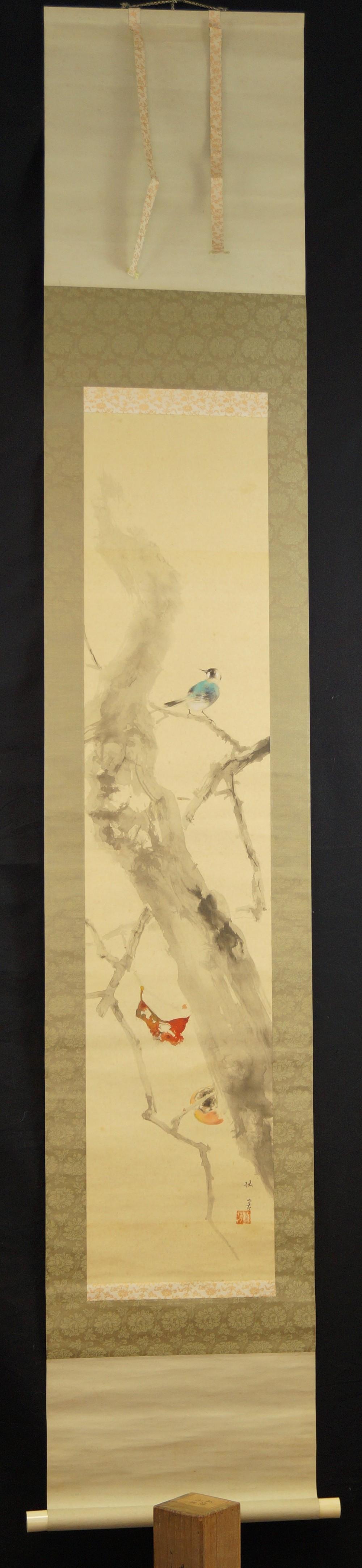 Vogel auf einem Kaki Baum - Japanisches Rollbild (Kakejiku, Kakemono)