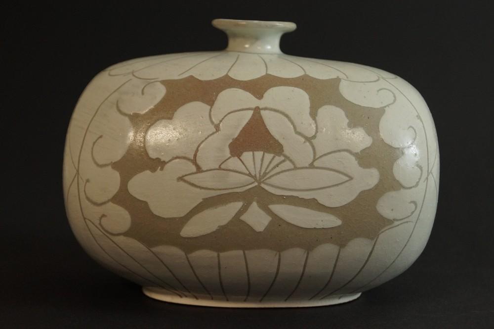 Handgetöpferte japanische Vase Kyoto Keramik