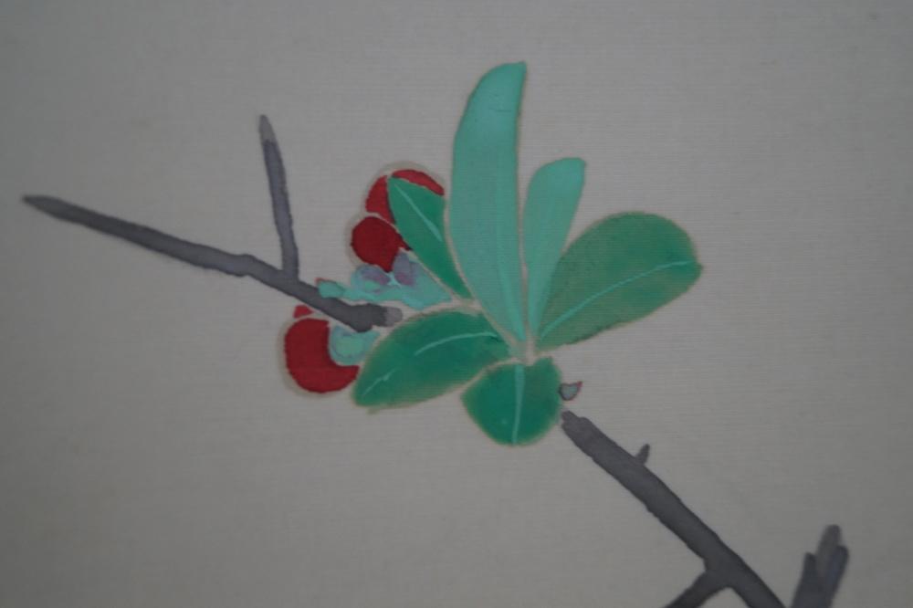 Zwei vögel am Rosenstrauch - Japanisches Rollgemälde (Kakejiku)