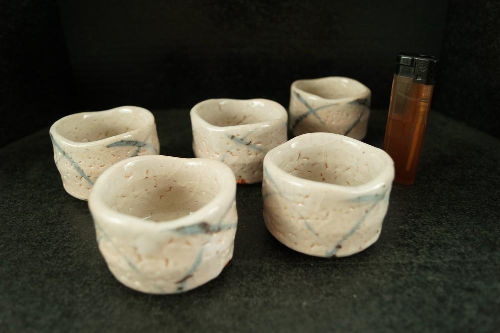 Handgetöpferte japanische Sake-Schalen (Guinomi) 5er-Set