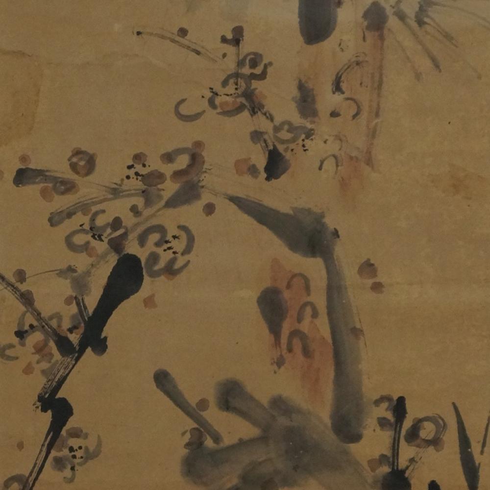 Die Kiefer und der knorrige Pflaumenbaum - Japanisches Rollgemälde (Kakejiku)